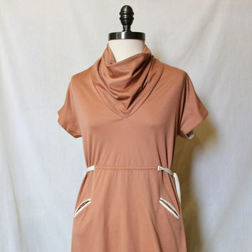 Mod 1960s Cowl Neck Scooter Dress Mod Super Cute Beige Shift Dress Retro Polyester Tie Waist Unique Stretch Knit