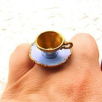 Kawaii Cute Japanese Ring Blue Teacup And by SouZouCreations