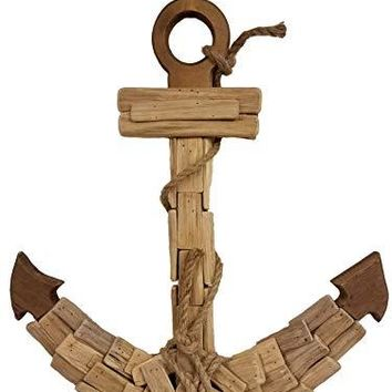 Handcrafted Rustic Ocean Driftwood Nautical Decor Ship's Anchor with Rope Hanger!