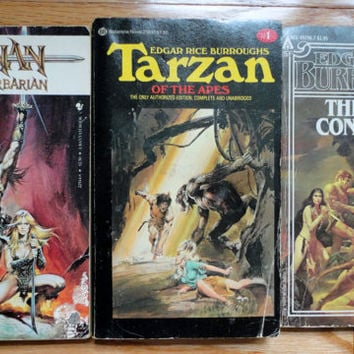 CONAN The BARBARIAN vintage book lot collection Tarzan Edgar Rice Burroughs Fantasy