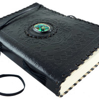Large Black Journal Embossed with Chrysocolla Gemstone