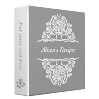 Grey, white rose motif  & ribbons recipe 3 ring binders from Zazzle.com