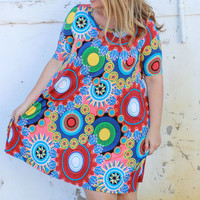 Everything Is Beautiful Circle Print Dress With Short Sleeves ~ Red ~ Sizes 12-18