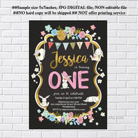 Bunny Birthday Invitation ,  Bunny Invitation, easter party any age, 1st 2nd 3rd 4th 5th first birthday Invitation , invite card 1231