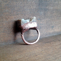 Peach Quartzite Ring - Local Connecticut Stone Ring - Raw Stone Ring - Copper Ring - Beach Rock - Gift for Her - Gift for Woman - SIZE 5