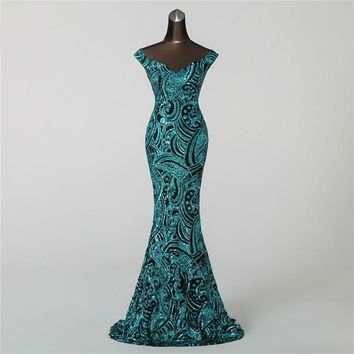 Mermaid Evening Dress prom gowns Formal Party dress Vintage Backless Luxury Sequin robe longue