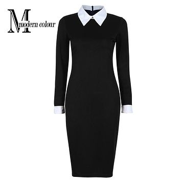 Black Office Dresses Women 2017 Autumn New Arrivals Fashion Long Sleeve Pencil Dress Ladies Casual Work Dress With White Collar