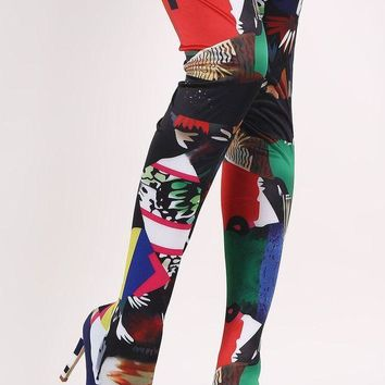DCK7YE Stretched Graphic Print Pointy Toe Stiletto Over-The-Knee Boots