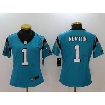 Danny Online Nike NFL Jersey Women's Vapor Untouchable Color Rush Carolina Panthers #1 Cam Newton Football Jersey Blue