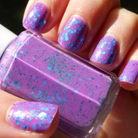 Purple Nail Polish with Shiny Blue and Teal Glitter