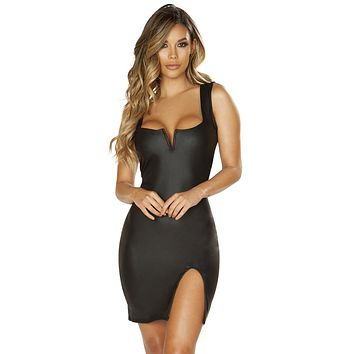 Sexy Say Something Faux Leather V Wire Slit Mini Dress