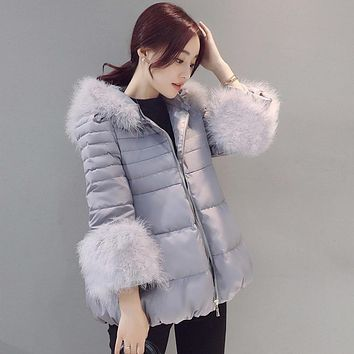 Ostrich Hair Collar Women Winter Jacket Slim Warm Short Down Cotton Coat 2017 New Solid Color A-line Warm Hooded Parka Okb394