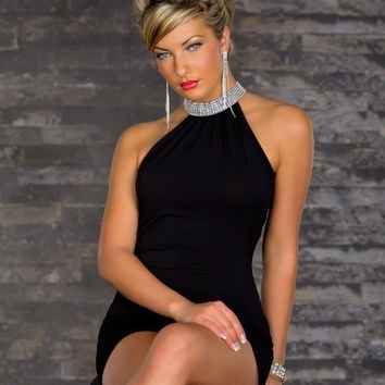 Newest Ladies Knee-Length Straight halter Sexy nightclub clubbing dress party costume clubwear apparel  Y084 = 1945718596