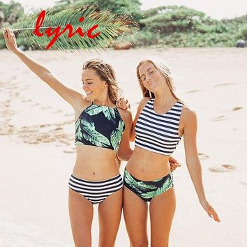 lyric Halter Bikini Set Swimsuit Sexy Crop Top Swimwear For Women High Neck Striped Bathing Suit Swimsuit Girl's Swimming Suit