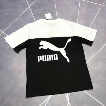 PUMA 2018 summer new black and white stitching short sleeve F-XMCP-YC