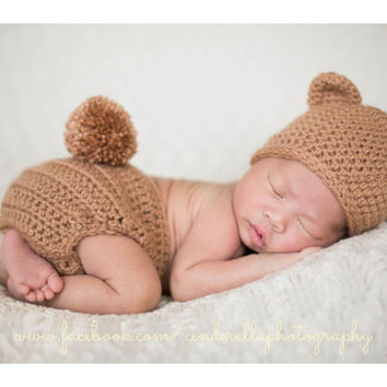 Bear hat diaper cover set , Bear Hat ,  animal hat , bear hat , photography Prop , newborn photo prop, infant , crochet baby outfit