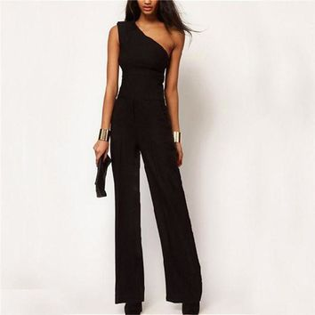 PEAP78W 2017 Womens Off One Shoulder Jumpsuit Romper Black OL Workwear Sexy Sleeveless Long Pant Playsuit Femme Casual Overall Trouser