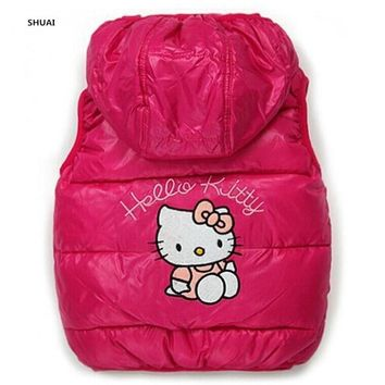 New Baby Girls Hello Kitty Vests Kids Cotton Cartoon Winter Jackets  Children Lovely Warm Coat Hooded Outwear Clothes Hot Sale