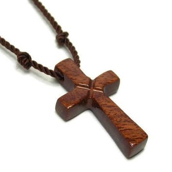 Mens Jewelry Cross, Minimalist Cross Necklace, South American Curupay Cross, Cross Necklace Men, Men's Wooden Cross Necklace, Gifts Under 20