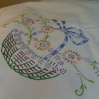 "Linen Tablecloth with Embroidered Flower Baskets and Crochet Edges 49"" x 49"""