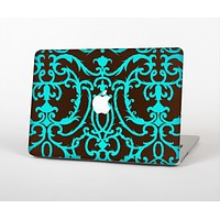 The Blue and Brown Elegant Lace Pattern Skin Set for the Apple MacBook Pro 15""