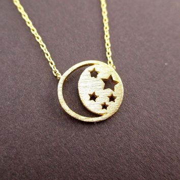 Celestial Crescent Moon and Stars Cut Out Shaped Pendant Necklace in Gold | DOTOLY
