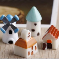 European Windmill House Craft Decorative Craft Home Desktop Decoration Ornaments Micro Moss Landscape Gifts Figurine