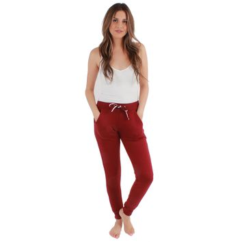 Terry Jogger Sweatpants with Pocket Red