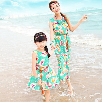 Family Look 2017 New Matching Mother and Daughter Dresses Bohemian Floral Printing Sleeveless Maxi Dress Plus Size