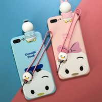 Cute cartoon Duck Lanyard couple mobile phone case for iPhone X 7 7plus 8 8plus iPhone6 6s plus -171110