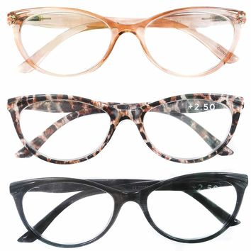 Peach Black Animal Print Reading Glasses 3 Pack Readers (2.50)