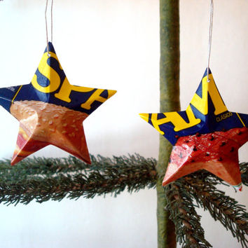 SPAM Luncheon Meat Aluminum Stars - 2 Recycled MINI Christmas Ornaments or Gift Toppers