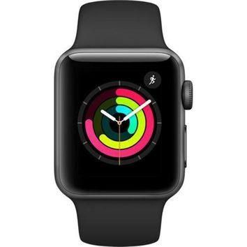 Apple Smart Watch 38mm Watch Series 3 - GPS - Space Gray Aluminum Case with Black Sport Band - 38mm