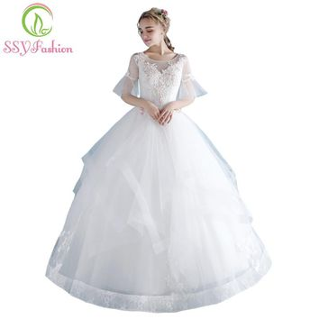 Sweet Flower Fairy Lace Wedding Dress The Bride Princess Married Floor-length Beading Wedding Gown