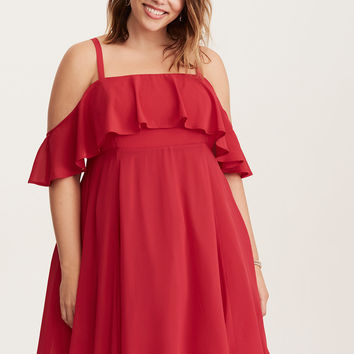 Special Occasion Red Chiffon Off Shoulder Skater Dress