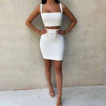 White 2 Piece Bodycon Top & Mini Skirt