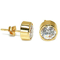 14K Yellow Gold CZ Bezel Set Stud Earrings