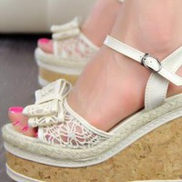 Lace Bow Platform - Off White from UrbanPUF