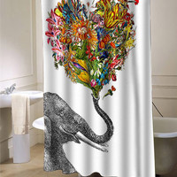 the happy elephant shower curtain customized design for home decor