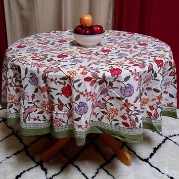 Cotton Floral Tablecloth Rectangular Round Square Runner Table Linen Green Blue