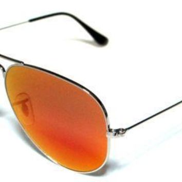 RAY BAN 3025 62 AVIATOR SILVER ORANGE MIRROR SILVER CUSTOMIZED REMIX