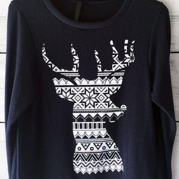 Ugly Christmas Reindeer Sweatshirt in Navy for Women