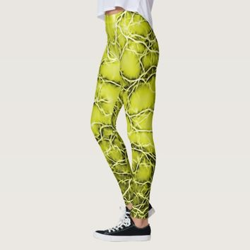Yellow lightning, bolts pattern, thunders on sky leggings