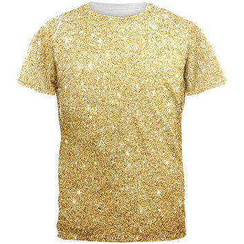 Faux Gold Glitter All Over Mens T Shirt