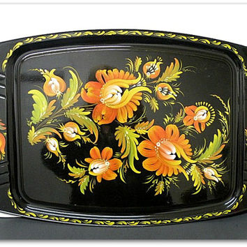 Vintage Hand Painted Metal Serving Tray Orange Flowers Floral Garden Flowers Vibrant