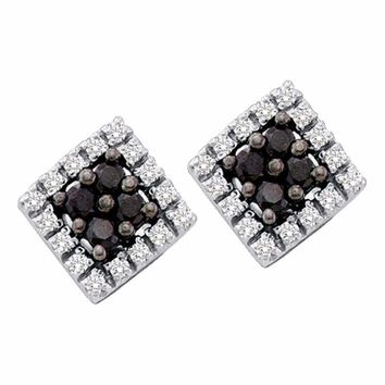 14kt White Gold Women's Round Black Color Enhanced Diamond Square Cluster Earrings 1-4 Cttw - FREE Shipping (US/CAN)