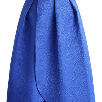 Tulip Fairy Embossed Midi Skirt in Blue