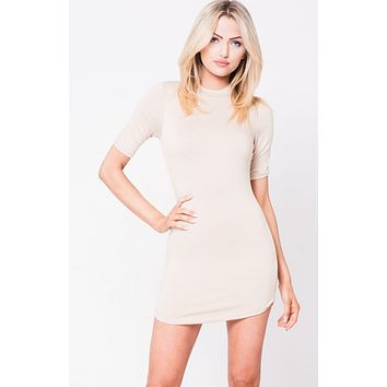 Crew Neck Mini Dress - Taupe