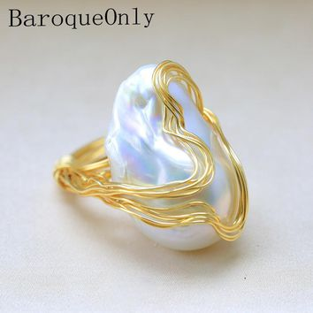BaroqueOnly Handmade 15-30mm Big Baroque Beads Wire Wrapped Rings Natural Freshwater White Pearl Fashion Woman Party Jewelry ROA