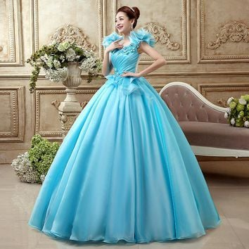 light blue flower ruffled plain medieval dress  Renaissance Gown